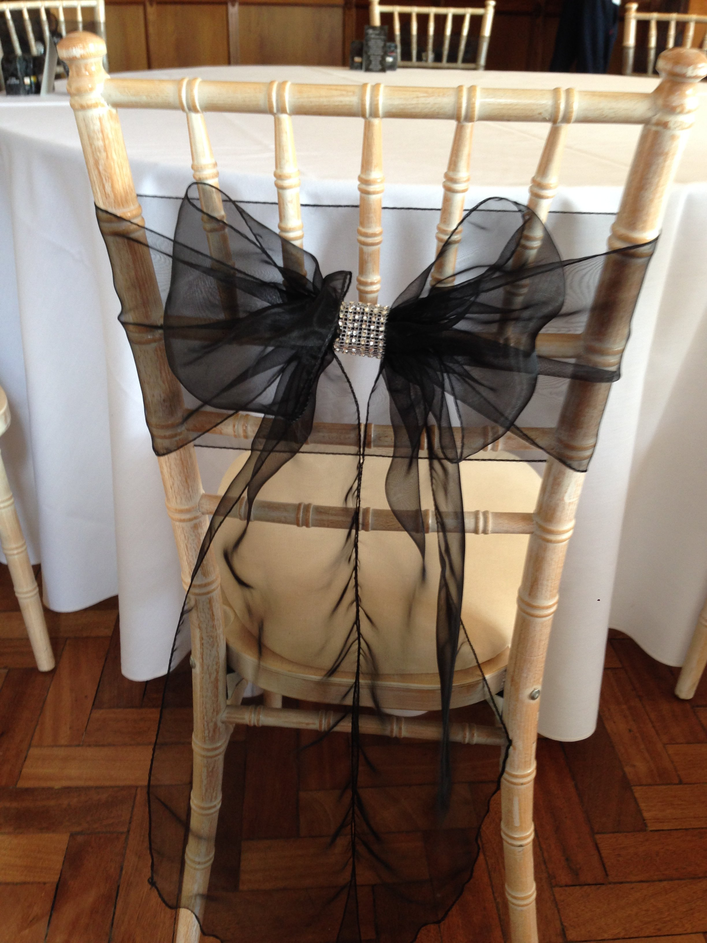 Black organza sash with silver bling wrap at Cromwell Manor