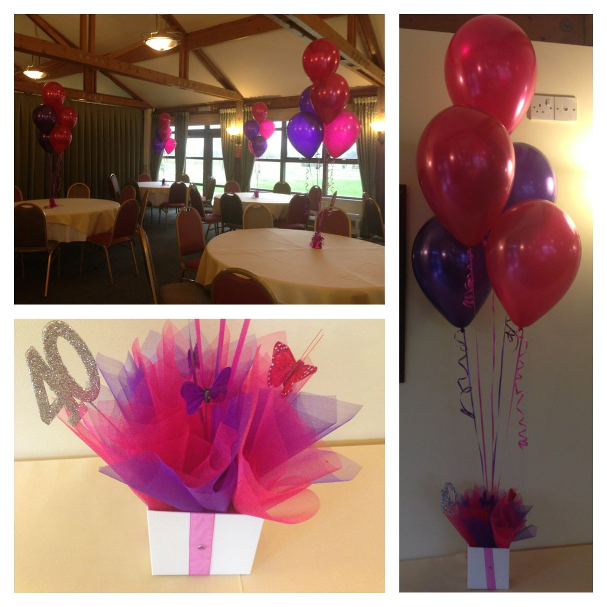 40th Birthday Balloons with centrepieces at The Burstead Golf Club
