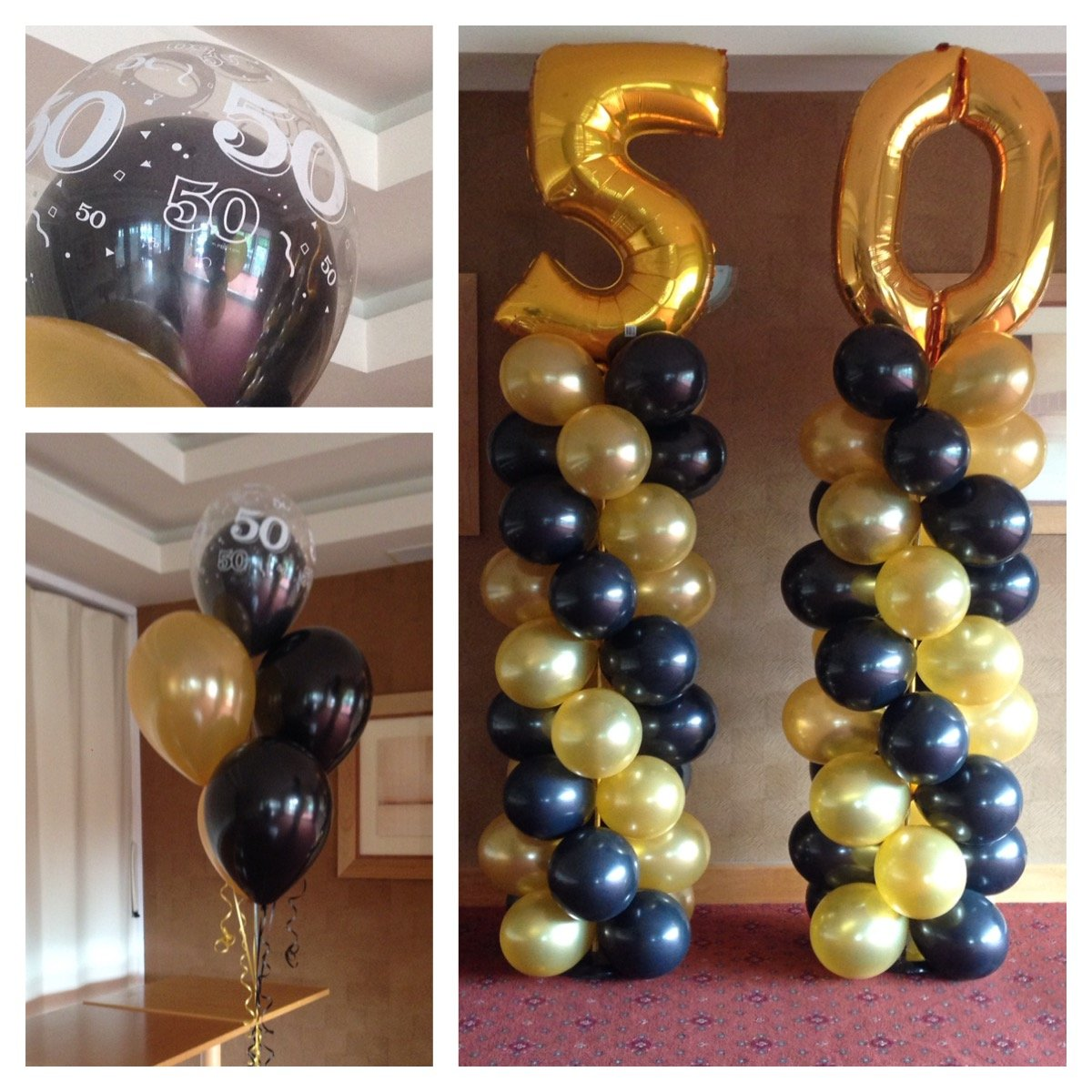 50th Birthday Balloon bunches and columns at Club Kingswood