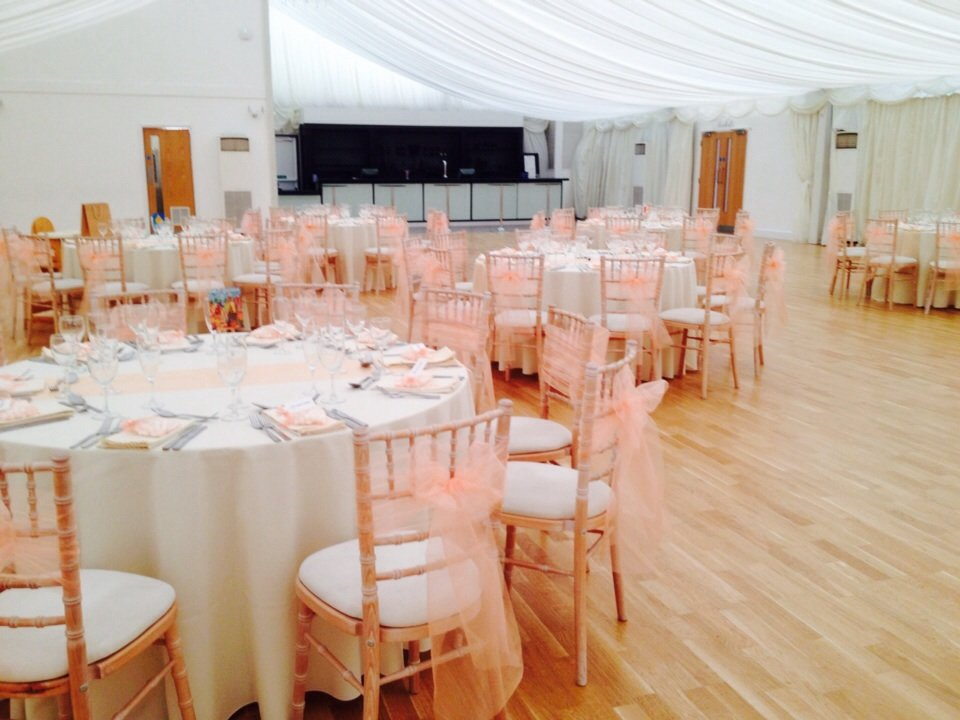 Coral organza sash at Hylands House