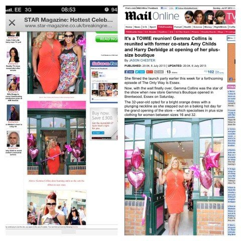 Gemma Collins Shop Opening in Brentwood, featured online on Reveal, OK Magazine, STAR Magazine, Mail Online