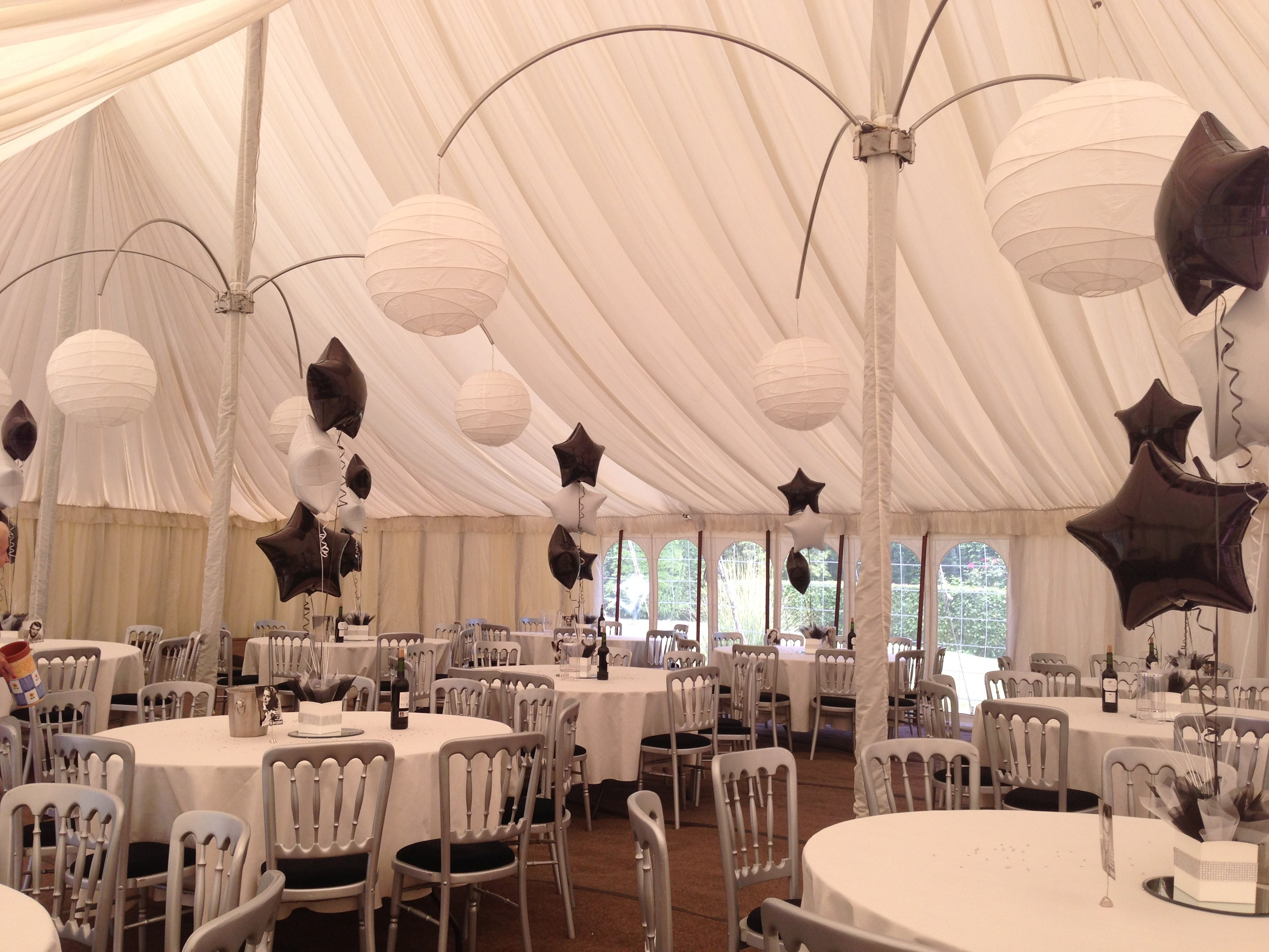 Party balloons in a marquee