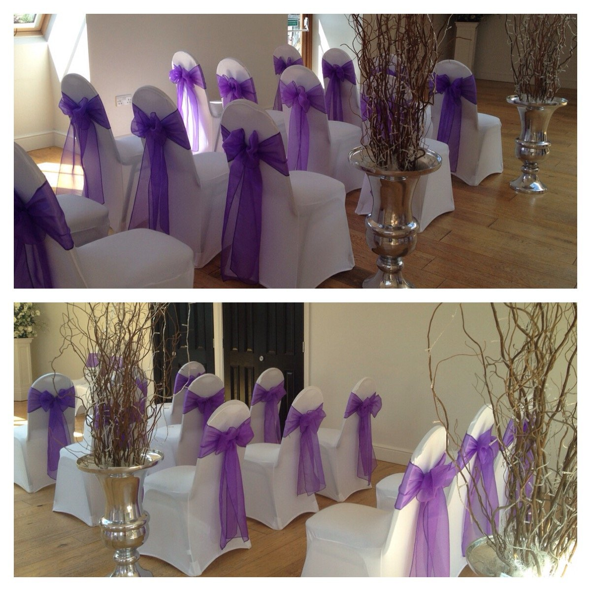 Purple organza sashes with white lycra chair covers at The Rayleigh Club