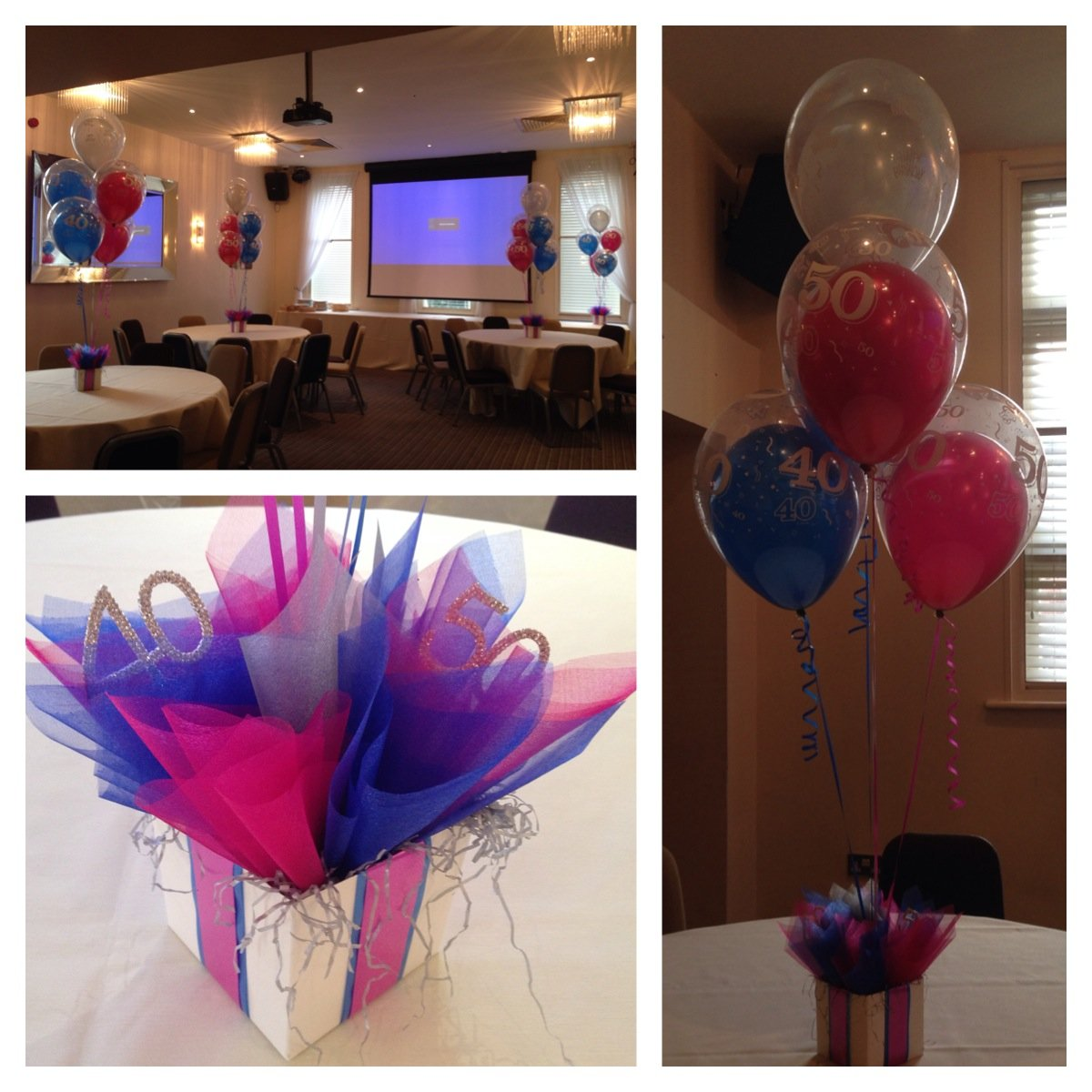 Joint 40th & 50th birthday balloons at Reids