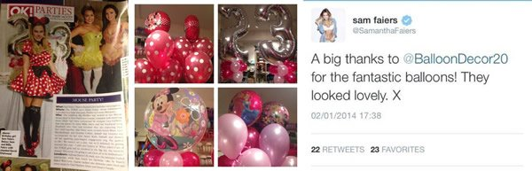 Sam Faiers' 23rd Birthday Party at Home, featured in OK Magazine