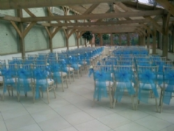 Turquoise chair sashes at Gaynes Park
