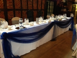 Material Top Table Swagging at Ye Olde Plough House