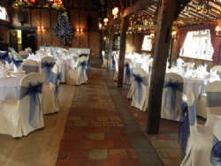 Navy organza chair sashes at Ye Olde Plough House