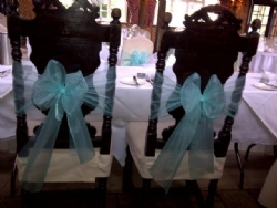 Tiffancy blue chair sashes at Ye Olde Plough House