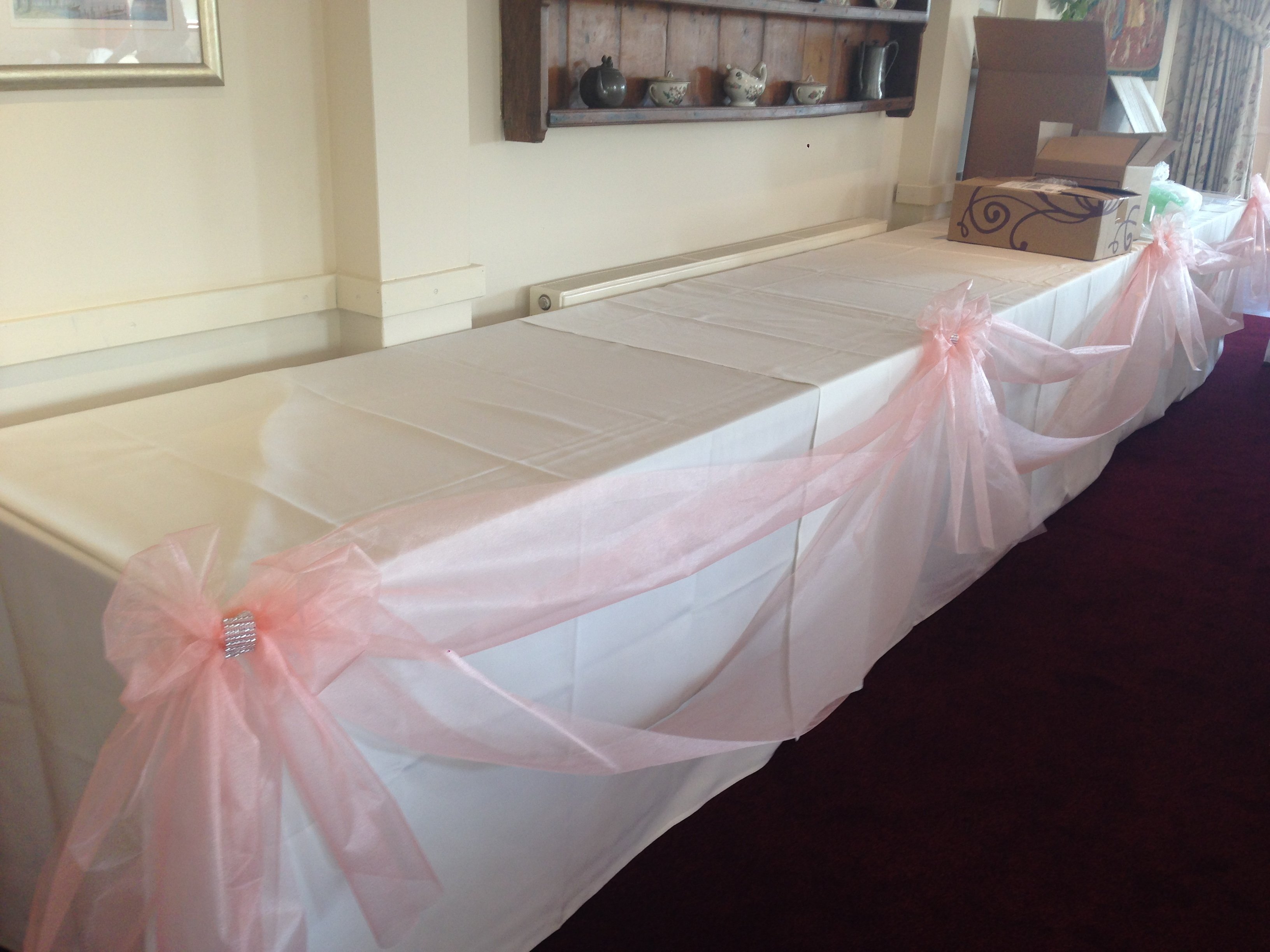 Buffet table organza swagging